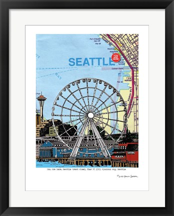 Framed Seattle Great Wheel Print