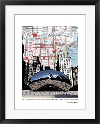 Framed Chicago Millennium Bean Print