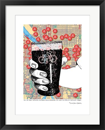 Framed You are Beer Portland with Bike on Glass Print
