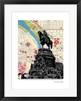 Framed George Washington Monument Philadelphia Print