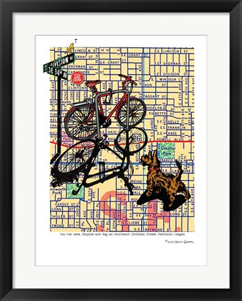 Framed Bicycle and Dog Division Portland Print