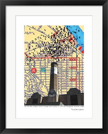 Framed Chapman School Chimney Swifts Portland Print