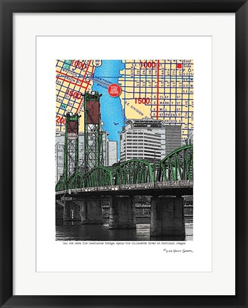 Framed Hawthorne Bridge Portland Print