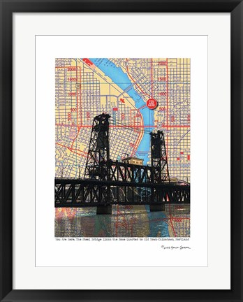 Framed Steel Bridge Portland Print