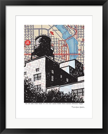 Framed Water Tower Portland Print