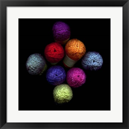 Framed Colourful Balls Of Wool Print