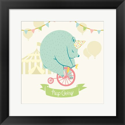 Framed Little Circus Bear Pastel Print