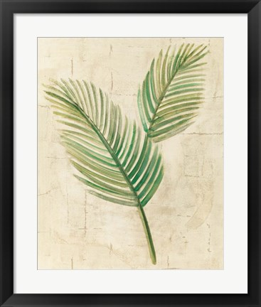 Framed Sago Palm Leaves Neutral Crop Print
