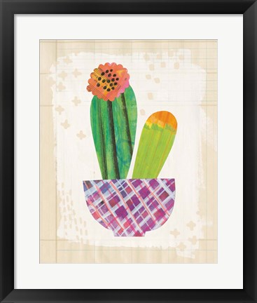 Framed Collage Cactus II on Graph Paper Print