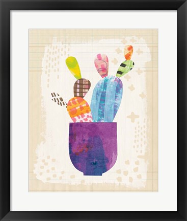 Framed Collage Cactus III on Graph Paper Print