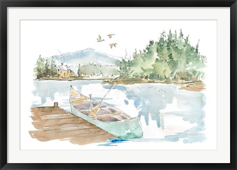 Framed Lakehouse I on White Print