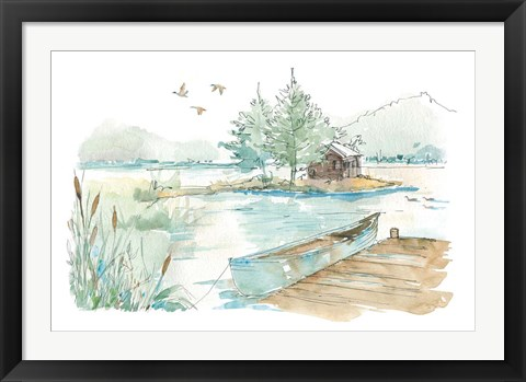 Framed Lakehouse II on White Print