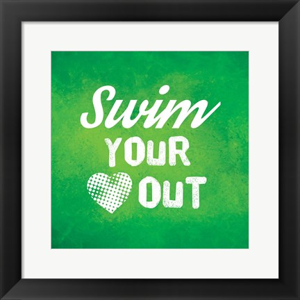 Framed Swim Your Heart Out - Green Vintage Print