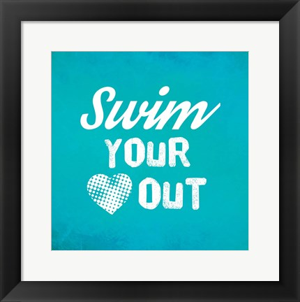 Framed Swim Your Heart Out - Teal Vintage Print