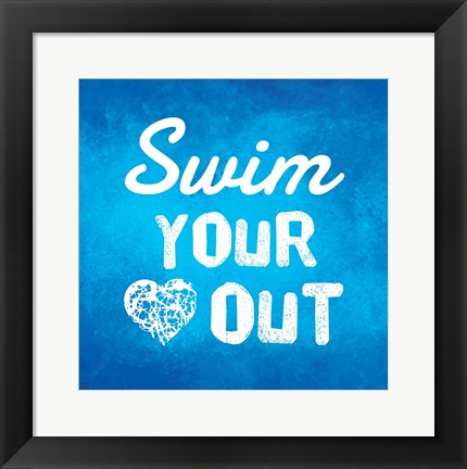 Framed Swim Your Heart Out - Blue Print
