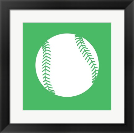 Framed White Softball on Green Print