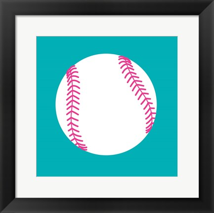 Framed White Softball on Teal Print