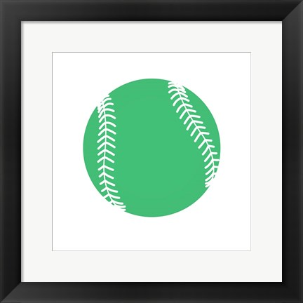 Framed Pastel Green Softball on White Print