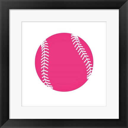 Framed Pink Softball on White Print