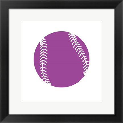 Framed Violet Softball on White Print