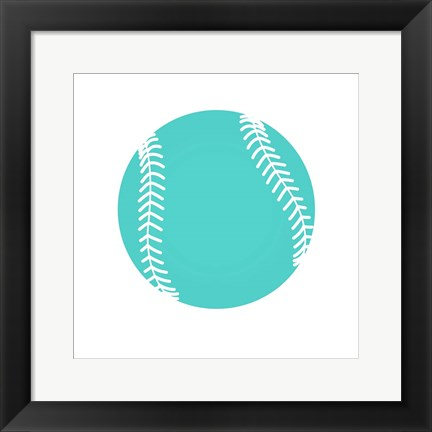 Framed Teal Softball on White Print