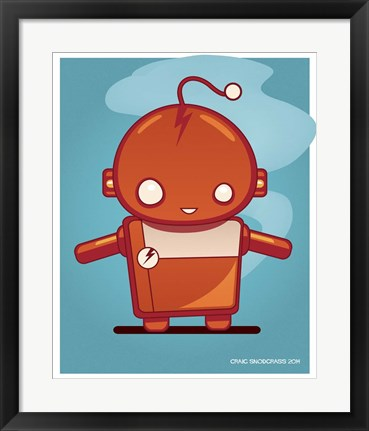 Framed Retro Robot Orange Print