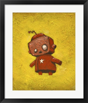 Framed Red Robot Star Print