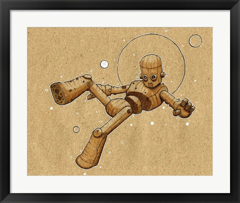 Framed Floating Robot 2 Print