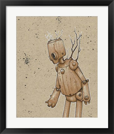 Framed Ink Marker Bot Trees Print