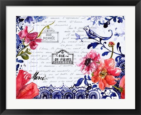 Framed Sophisticated Flowers I Print
