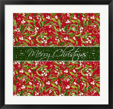 Framed Mistletoe pattern II Print