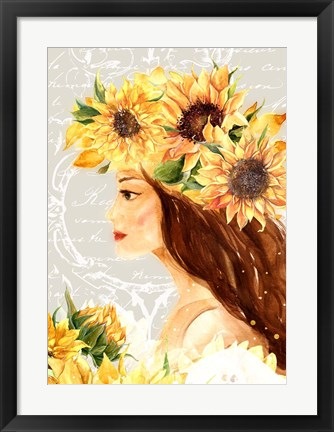 Framed Sunflower Girl I Print