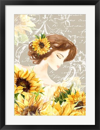 Framed Sunflower Girl II Print