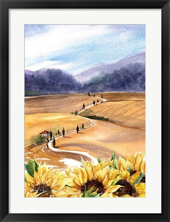 Framed Sunflowers in Tuscany Print
