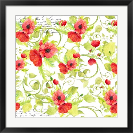 Framed Poppy Pattern I Print