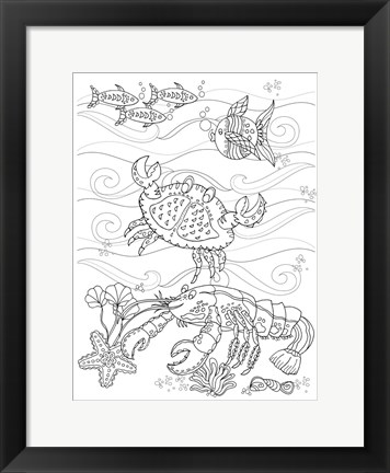 Framed Crab And Lobster Print