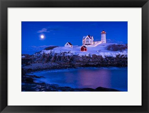 Framed Christmas At Nubble Print