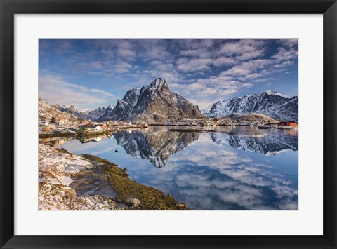 Framed Mirror In The Fjord Print