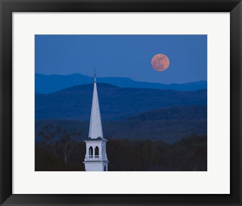 Framed Moon Over Vermont Hills Print