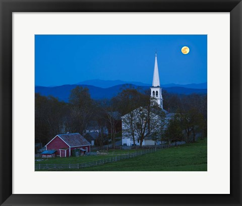 Framed Moonrise Over Peacham Print