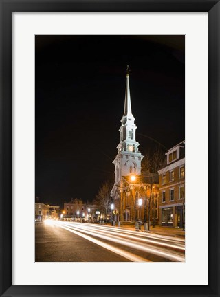 Framed Night On Congress Street Print