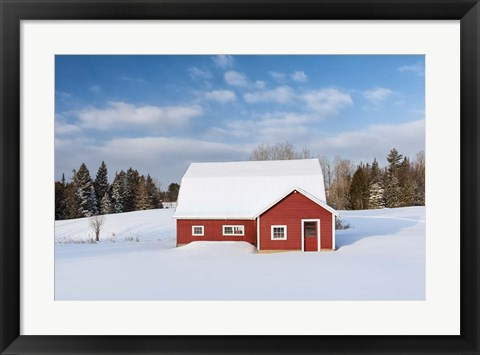 Framed Red Barn In Snow Print