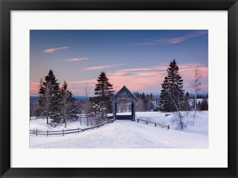 Framed Snow at the Bridge Print