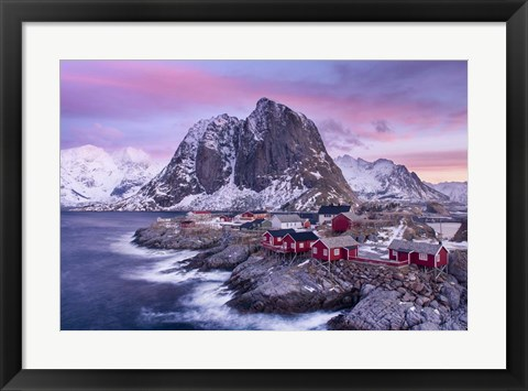 Framed Red Cabins Print