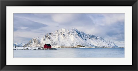 Framed Red Shack On Fjord - Panorama Print