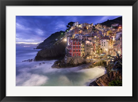 Framed Lights of Riomaggiore Print