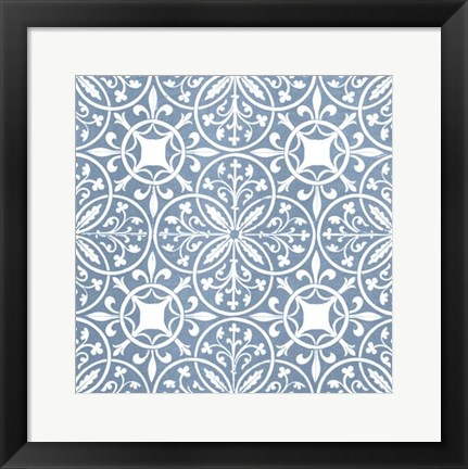 Framed Chambray Tile IX Print