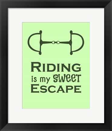 Framed Riding is My Sweet Escape - Lime Print