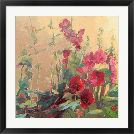 Framed Red Haven Hollyhocks Print