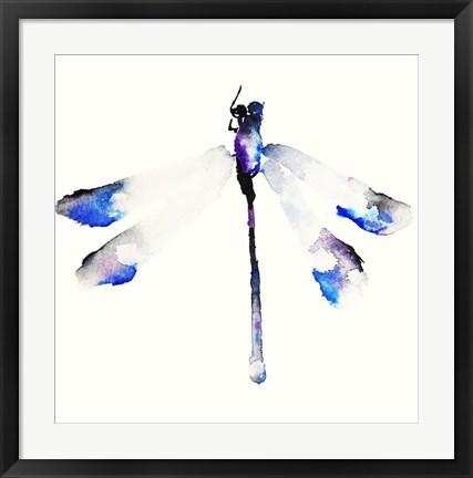 Framed Blue & Violet Dragonfly Print